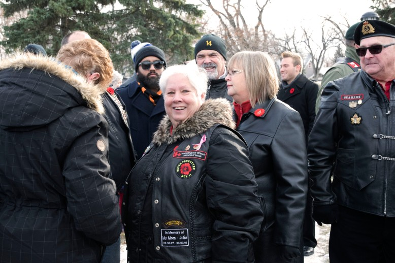 Judy Hemlow was a medic with the Canadian Women's Army Corp during Canada's peacekeeping efforts. She and her fellow veterans wear special vests on Remembrance Day telling the story of when and where they served. Hemlow comes to Vimy Ridge Memorial Park with her group of vets every year.